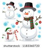 different snowman on white...   Shutterstock .eps vector #1183360720
