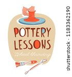 clay pottery lessons studio.... | Shutterstock .eps vector #1183362190