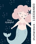 nursery poster with mermaid and ... | Shutterstock .eps vector #1183364803