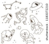 line art space icon set.... | Shutterstock .eps vector #1183372210