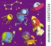 space icon set. cartoon vector... | Shutterstock .eps vector #1183372216