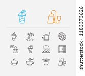 tea icons set. donut and tea... | Shutterstock .eps vector #1183373626
