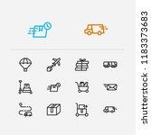shipment icons set. train... | Shutterstock .eps vector #1183373683