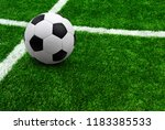 soccer ball on green football... | Shutterstock . vector #1183385533