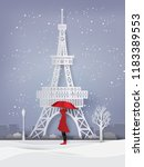 winter season with the girl... | Shutterstock .eps vector #1183389553