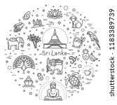 sri lanka vacation icons set.... | Shutterstock .eps vector #1183389739