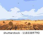 autumn field vector background. ... | Shutterstock .eps vector #1183389790