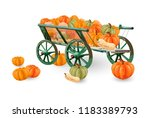 Pumpkins Cart Vector Isolated...