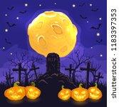halloween background with jack... | Shutterstock .eps vector #1183397353