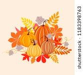 autumn background with pumpkins ... | Shutterstock .eps vector #1183398763