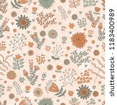 seamless texture with flowers ...   Shutterstock .eps vector #1183400989
