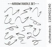 arrow doodle set on paper... | Shutterstock .eps vector #1183402240