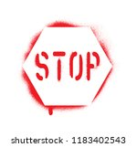isolated red stop traffic sign... | Shutterstock .eps vector #1183402543