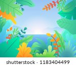 landscape with leaves and... | Shutterstock .eps vector #1183404499