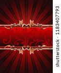 red banner with floral elements....   Shutterstock .eps vector #1183407793