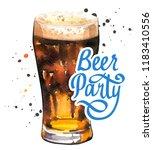 beer party poster. watercolor... | Shutterstock . vector #1183410556