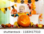 little boy in witch costume on...   Shutterstock . vector #1183417510