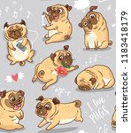 seamless pattern with cute and... | Shutterstock .eps vector #1183418179