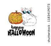 pumpkin and cat. template for a ... | Shutterstock .eps vector #1183419073