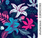 seamless pattern with lilium ... | Shutterstock .eps vector #1183425583