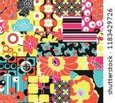 vintage sixties hippy fabric... | Shutterstock .eps vector #1183429726
