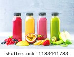 flat lay of colorful smoothies... | Shutterstock . vector #1183441783