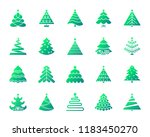 christmas tree silhouette icons ... | Shutterstock .eps vector #1183450270