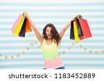 a good buy. happy girl show... | Shutterstock . vector #1183452889