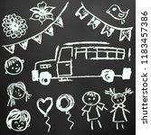 children's drawings. elements... | Shutterstock .eps vector #1183457386