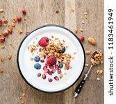 yogurt with granola ... | Shutterstock . vector #1183461949