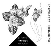 hand drawn flowers and leaves... | Shutterstock .eps vector #1183463629