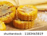 bbq grilled corn sliced  close... | Shutterstock . vector #1183465819
