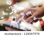 hand touching digital tablet ...   Shutterstock . vector #118347970