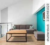 living room with sofa  pouf ... | Shutterstock . vector #1183481023
