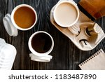 coffee cup take away at wooden... | Shutterstock . vector #1183487890