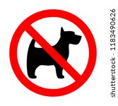 prohibition sign stop dog... | Shutterstock . vector #1183490626