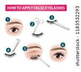 how to apply false  eyelashes... | Shutterstock .eps vector #1183532293