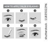 how to apply false  eyelashes...   Shutterstock .eps vector #1183532296