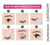 how to apply false  eyelashes... | Shutterstock .eps vector #1183532299
