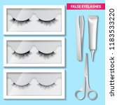 false eyelashes box and glue...   Shutterstock .eps vector #1183533220
