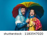 people in rain. the autumn mood ... | Shutterstock . vector #1183547020