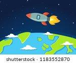 rocket or space ship flying... | Shutterstock .eps vector #1183552870