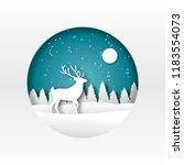 paper art. origami. the deer in ... | Shutterstock .eps vector #1183554073