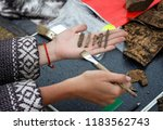 archaeologist holds on his hand ... | Shutterstock . vector #1183562743