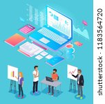 digital analytics people giving ... | Shutterstock .eps vector #1183564720