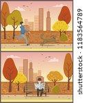 old elderly man reading... | Shutterstock .eps vector #1183564789