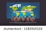 High rank military commanders and politicians authority people discussing strategy sitting at round table. Big war room world map. Conference hall, boardroom or meeting room. Flat vector illustration