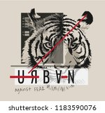 slogan graphic with tiger... | Shutterstock .eps vector #1183590076