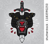 black panther head and dagger... | Shutterstock .eps vector #1183590253