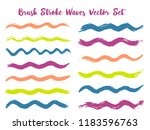 cool brush stroke waves vector... | Shutterstock .eps vector #1183596763